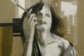 Sonia Ceccotti, Madame, carboncino, acrilico e nastro adesivo su cartone ondulino, cm.160x120