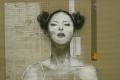 Sonia Ceccotti, La sposa III, carboncino, acrilico e nastro adesivo su cartone ondulino, cm.160x120