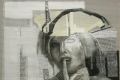 Sonia Ceccotti, Donna in maschera, carboncino, acrilico e nastro adesivo su cartone ondulino, cm. 130x100