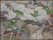 Gino Severini, Suburban Train Arriving in Paris, 1915, olio su tela, cm 115,6 x 88,6
